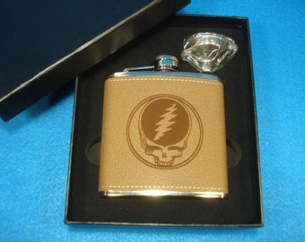 STEAL YOUR FACE Leather Flask and Funnel Gift Set - Great gift for a Deadhead, Grateful Dead, Jerry Garcia