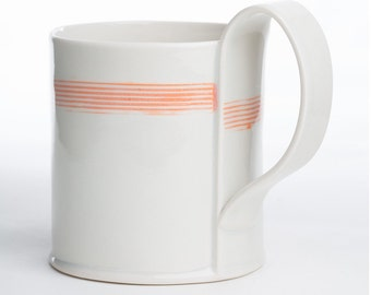 Hand Built Porcelain Striped Mug - Tangerine