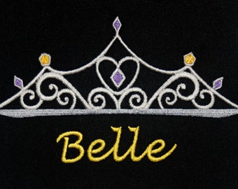 Disney's Beauty and the Beast inspired t-shirt w embroidered Belle Tiara and personalized w your name - perfect for Disney fans