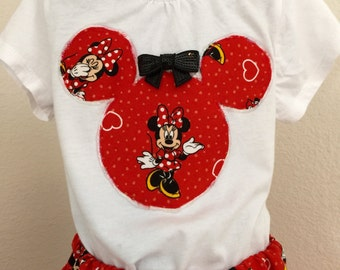 Minnie Mouse twirly skirt & shirt set, perfect for Disney, Disney Cruise, photos, parties
