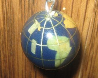 Vintage 20mm Lapis COLOR Multi Gemstone Inlay Sterling Silver Globe Pendant Necklace