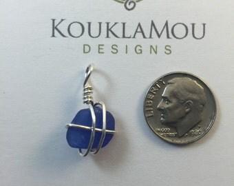 Blue sea glass pendant - genuine