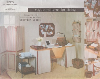 Vogue 2223 / Home Decor Sewing Pattern / Interior Design / Decorating  / Office  / Screen File Covers Waistbasket Slipcovers