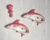 Mid Century Chalkware, Sharks Bubbles  Plaque Bathroom Decor Pink Wall Art