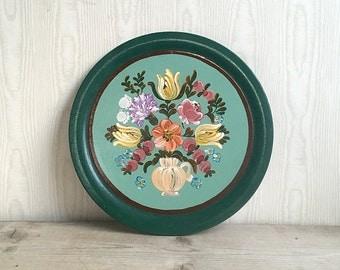 Wooden Plate Toleware Folk Primitive Shabby Cottage Aqua Teal Floral