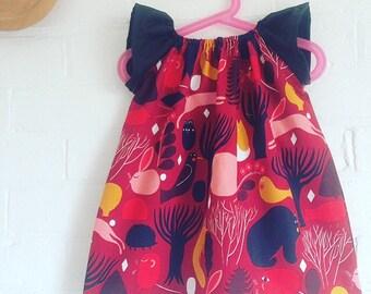 Baby Dress made from Marimekko Fabric, Huhuli Red Fabric Baby Girls Dress Birthday Special Ocassion Dress