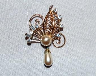 Vintage / Van Dell / Gold Filled / Rhinestones / Pearls / Brooch / Signed / Designer / jewellery / jewelry