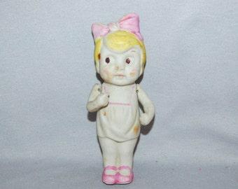 Vintage / Bisque / Doll / Large / Dress / Girl / Blond / Googly Eyes / Frozen Charlotte /