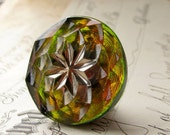 27mm round star, lime green, chartreuse, pink, Czech glass shankless button, hand painted, hand forged, flat back cabochon