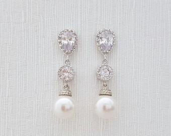 Pearl and Crystal Earrings Bridal Pearl Earrings Wedding Pearl Jewelry Cubic Zirconia Drop Earrings Silver Wedding Earrings, Rene