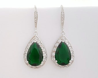 Wedding Green Earrings Bridal Jewelry Green Bridal Earrings Emerald Green Cubic Zirconia Pear Drop Green Earrings Wedding Jewelry, Esmeralda