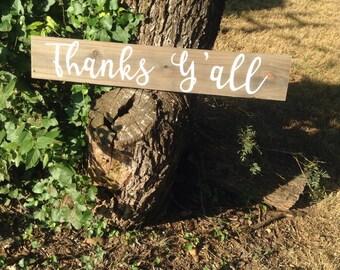 Western Cowgirl Rustic Wood Wedding Bridal Southern Drawl Thank You Sign Thanks Yall Modern Cursive Font