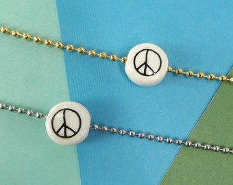 """vintage 70s peace sign charm necklace DEADSTOCK choose gold or silver ball chain 20"""" long retro hippie jewelry ceramic bead women men teen"""