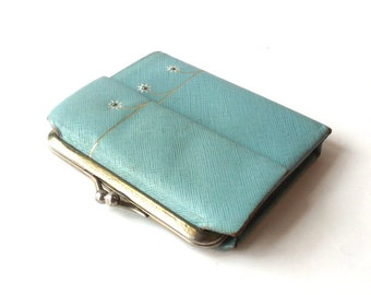 vintage 1950's NOS turquoise blue wallet billfold change purse leather flowers daisy accessories womens retro mid century modern lady buxton
