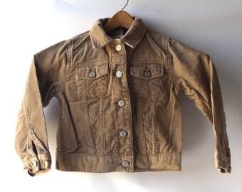 vintage 1980's little kid corduroy jacket xs 4 5 beige tan coat clothing fashion retro child children jean 100% cotton boys girls neutral