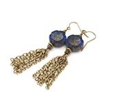 Long Tassel Earrings - Midnight Blue Navy - Czech Glass Flower Beads - Boho Chain Earrings - Sapphire Blue