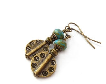 Bronze Boho Dangle Earrings - Periwinkle Blue Picasso Glass Beads - Etched Bronze Discs - Southwestern Aztec Style Jewelry