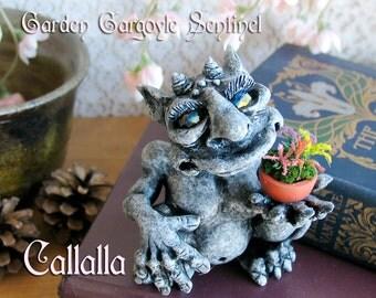 Callalla The Garden Gargoyle Sentinel - Mini-Guardian of the World of Shelf and Mantel - Handcrafted Clay Gargoyle - Terrarium Sculpture