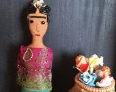 Frida Kahlo Doll - Frida Doll - Frida Kahlo Art Doll - Folk Art Ornament - Frida Ornament - Inspired by Mexican Folk Art - Sari Ribbon Shawl