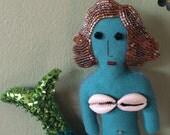 Mermaid - Folk Art Doll - Mermaid Ornament - Mermaid Decor - La Sirena - Inspired by Mexican Folk Art & Haitian Folk Art - Beaded Doll