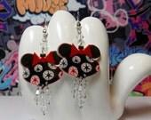 ON SALE - Minnie Mouse Christmas Ornament Dangle Earrings