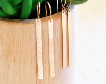 Long Gold Bar Earrings, Skinny Custom Bar Earrings, Minimalist Hammered or Smooth, 14k Gold Filled
