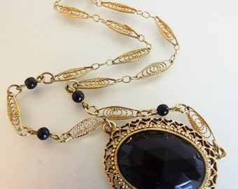 Pretty Vintage Designer 1928 Victorian Style Faceted Black Glass Necklace