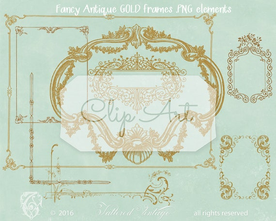 fancy gold frames instant download png ornate by