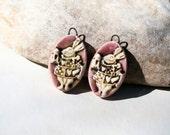 2 handmade clay pottery ceramic charms for earrings ammonite - rabbit alice in wonderland -  poppy in the sky