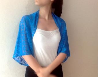 Blue Lace bolero shrug wedding Jacket Lace Top Wide sleeved plus size clothing blue wedding bolero shrug dark red lace bolero jacket