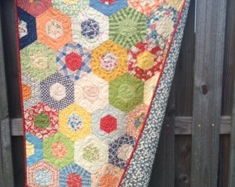 Quilts for Sale / Baby Quilts / Quilt / Gender Neutral / Boy Quilts/ Girl Quilts /Hexagon Quilt /Baby Shower / Crib Bedding / READY TO SHIP
