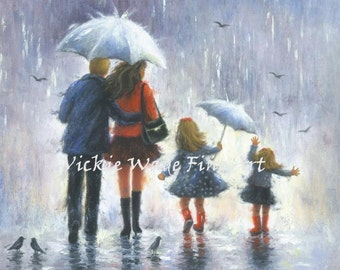 Rain Family Art Print, blonde father mother two blond daughters, two sisters, fun in rain, red and black wall art, Vickie Wade Art