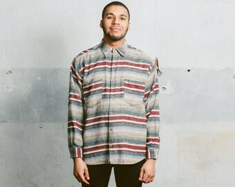 Vintage 90s Mens AZTEC Print Shirt . Striped Flannel SOUTHWESTERN 1990s Thick Peruvian Oversized Boyfriend Gift Overshirt . Large XL
