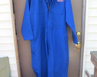 Vintage BLUE  Mechanic   W SCHAUB  electric employee Coveralls by Red Kap Jumpsuit  Sz 50-rg usa made
