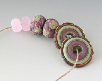 Rustic Artisan Pairs - (6) Handmade Lampwork Beads -  Lavender, Green