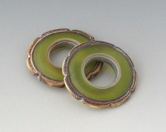 Rustic Ruffle Discs - (2) Handmade Lampwork Beads - Olive Green