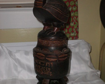 vintage wood carved souvenir from lorenco marques africa from the sixties