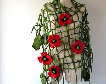 Floral Felted scarf, lace scarf , Poppy scarf Red Poppy flower, Green felt net scarf lace women scarf by Galafilc