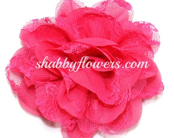 Hot Pink Chiffon & Lace Flower, Shabby Chic Large Flower, Arabella Flower, 4 inch flower, Headband Supplies