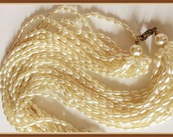 Cream Color Pearl Necklace, Multi Strand, Torsade, Vintage 1980's