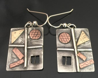 sterling silver, copper, and brass rectangle earrings