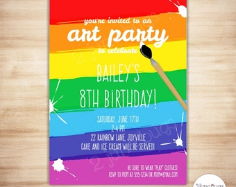 Art Party Invitation Template - Paint Party Printable Invitation - Kids Art Birthday Party - Craft Party - EDiTABLE PDF - INSTANT DOWNLOAD