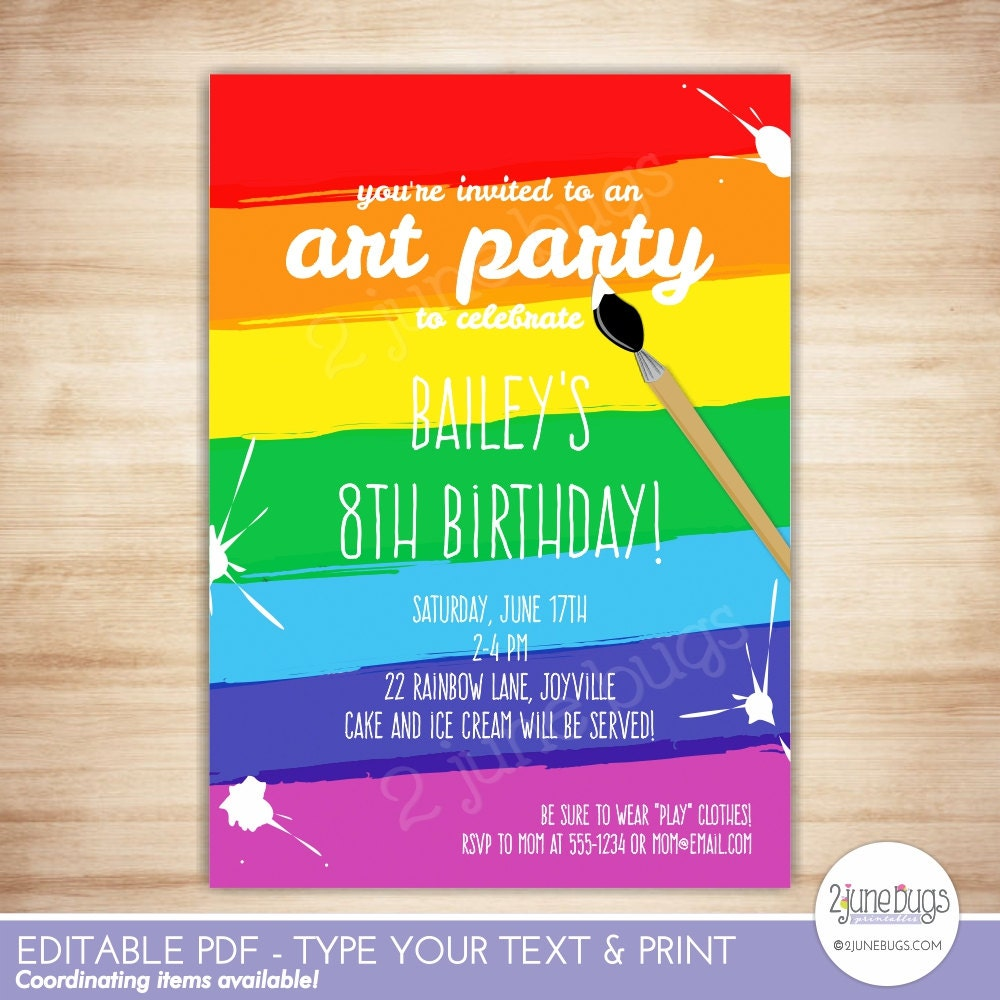 art party invitation template paint party printable 🔎zoom