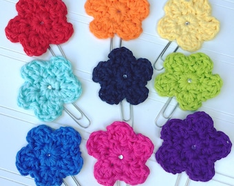 Crochet Flower Clippies - Planner Clips, Bookmarks - Full Rainbow Set of 9