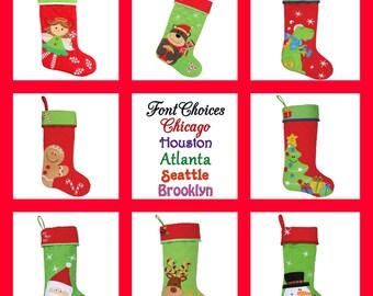 Monogram Christmas Stocking Personalized Stocking Stephen Joseph Christmas Stocking FREE Embroidered Name