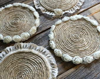 Coasters - Lace Trim or Rosette Trim - Ivory - Rustic Jute Round Coiled on Cork Bottom