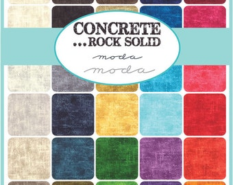 CONCRETE...Rock Solid Mini charm packs (4) Moda CANDY quilt patchwork fabric squares retro MODERN primitive blender colorwheel rustic