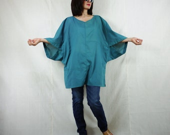 Boho Casual Elegant Plus Size 3/4 Sleeve Drop Shoulder V Neck Azo Free Color Teal Green Light Cotton Blouse Women Top - SM699