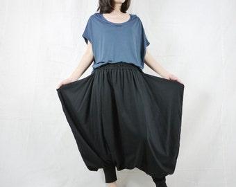 Funky Harem Boho Drop Crotch Black Cotton Jersey Pants With Wide Flap Side And Elastic Waist
