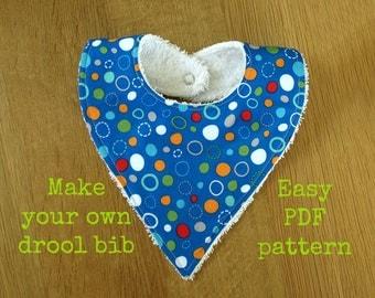 Drool bib pattern, Bandana bib pattern, Baby bib pattern, Baby pattern, Toddler sewing patterns, Baby accessories, PDF pattern - (S125)